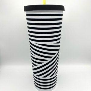 STARBUCKS Black White Zebra Stripe Matte Cold Cup